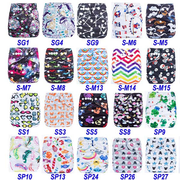 New Prints Cloth Diapers Reusable 5pcs/lot Waterproof  PUL Washable Diapers Bulk Cloth Baby Diapers One Size Fits All