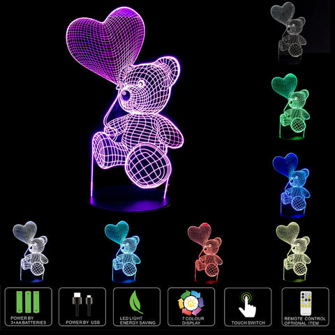 3D Illusion Night Light for Kids Room 7 Color Changing Teddy Bear Soothing Childs Room Lamp