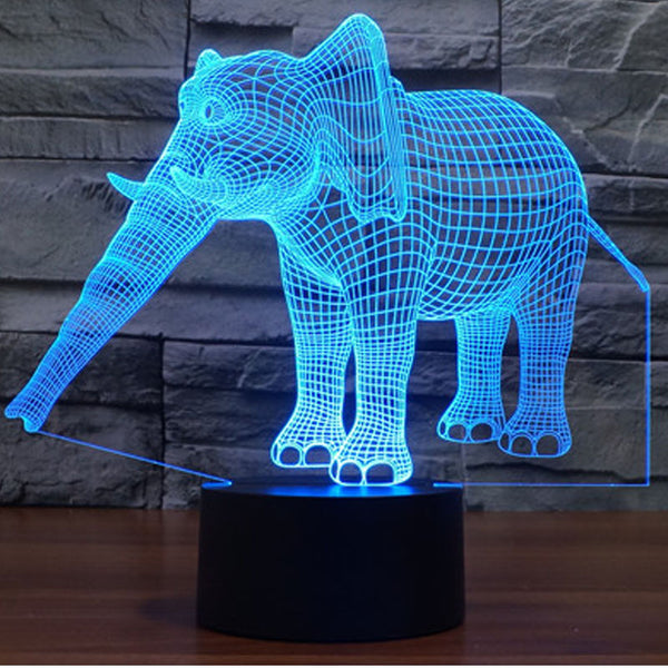 3D LED Night Lights Elephant with 7 Colors Light for Home Decoration Lamp Amazing Visualization Optical Illusion Awesome