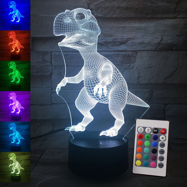 3D Illusion Led Lamp Dinosaur 7 Color Led Bulb Decoration Animal Night Light Touch Sleeping Nightlight Table Lamp Boys Gifts
