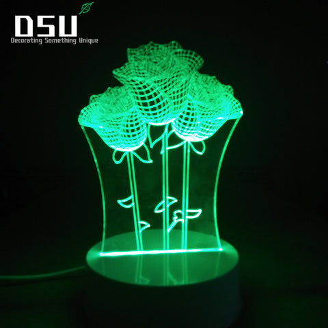 3D Illusion 7 Colors Gradient Remote Control  Romantic Rose Night Lights Perfect Idea for Girlfriend or Wife Festival Gift Lamp