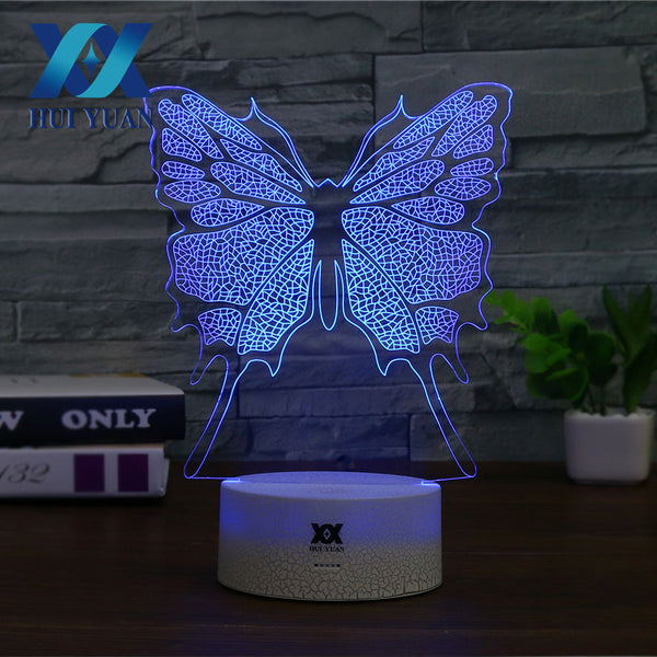 HY Butterfly Beautiful pattern 3D Night Light 7 Colors Light USB decoration table lamp Christmas holiday gift for childrens