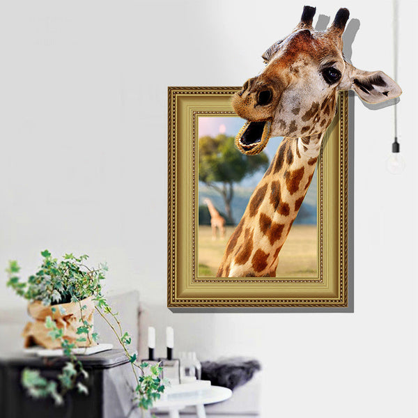 3D Giraffe Wall Stickers Decorative Creative Removable Muurstickers Voor Kinderen Kamers Wall Stickers Home Decor for  Kids Room
