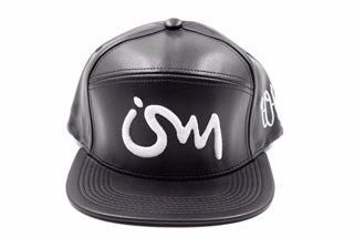 Ism Leather 5 Panel Hat (Black/white)