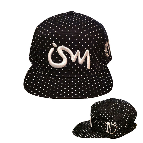 Ism 5 panel Polka Dot Snap Back Hat (black)