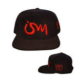 Ism 5 panel Corduroy Snap Back Hat (black/red)
