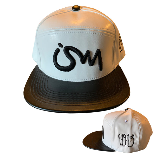 Ism Leather 5 Panel Hat white (black brim)
