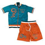 Ism Numerology Short Set (Turquoise blue/ Orange)