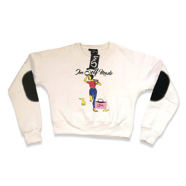 Im Self Made Women Crop Top Crewneck Sweatshirt (white)