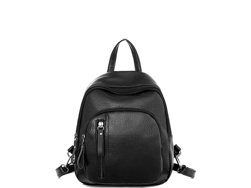mini small backpack women zipper black front onway store