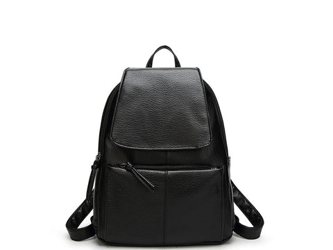 Women Casual Zipper Backpack Black front side
