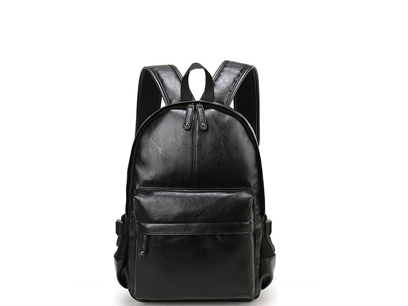 black leather casual men backpack students travel 2018 on way store