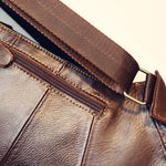 Vintage Cow Leather Chest Bag brown details