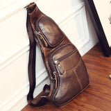 Vintage Cow Leather Chest Bag brown front zipper pockets