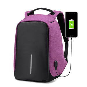 USB Charging Anti-Theft Backpack pink black