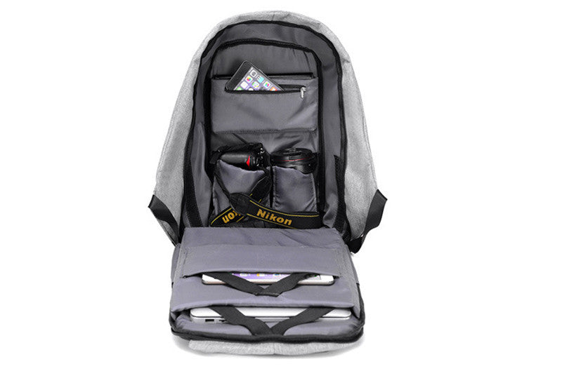 USB Charging Anti-Theft Backpack interior inside space pokets