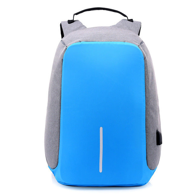 USB Charging Anti-Theft Backpack grey blue
