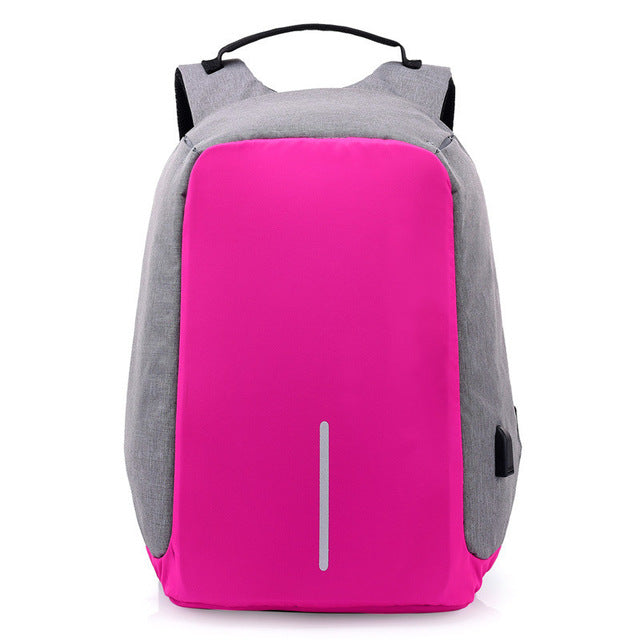 USB Charging Anti-Theft Backpack pink grey