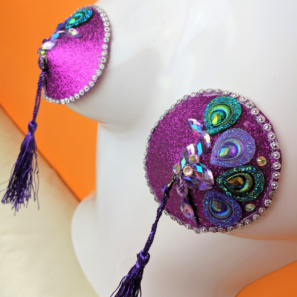 Purple Peacock Gemstone Pasties with Tassels