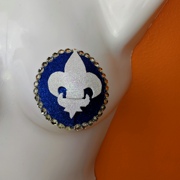 Blue and White Quebec Pride Rhinestone Sequin Nipple Pasties