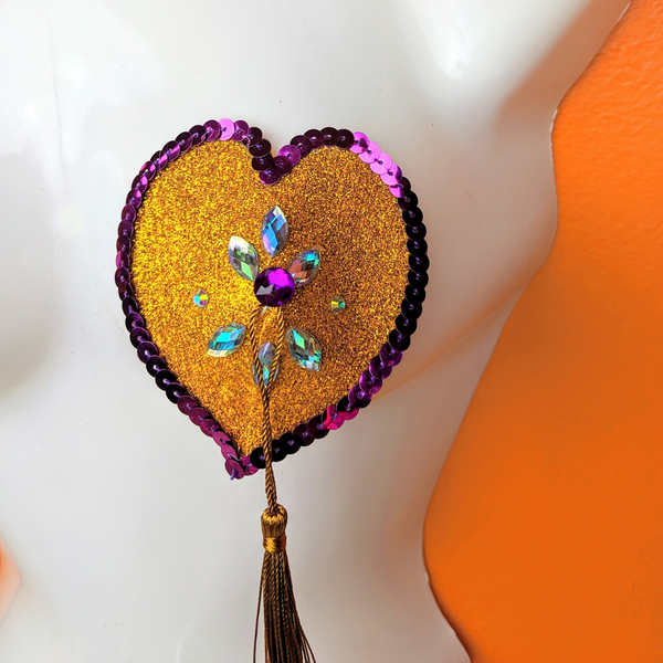 Purple Heart Gold and Crystal Nipple Pasties with Tassels