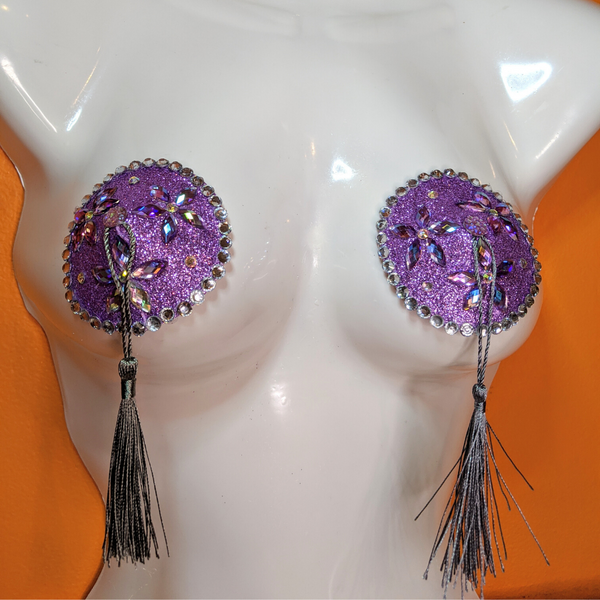 Silver and Purple Crystal Rhinestone Nipple Pasties with Tassels
