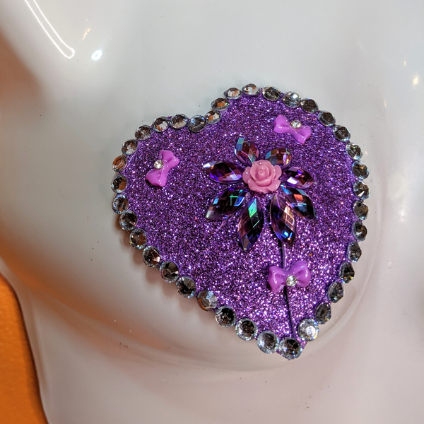 Lavender Heart with Rhinestones and Pink Roses Nipple Pasties