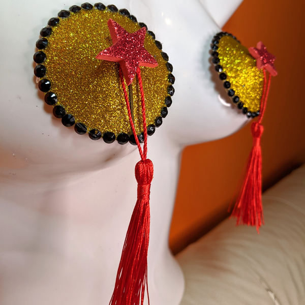 Gold Black and Red Star Nipple Pasties with Tassels