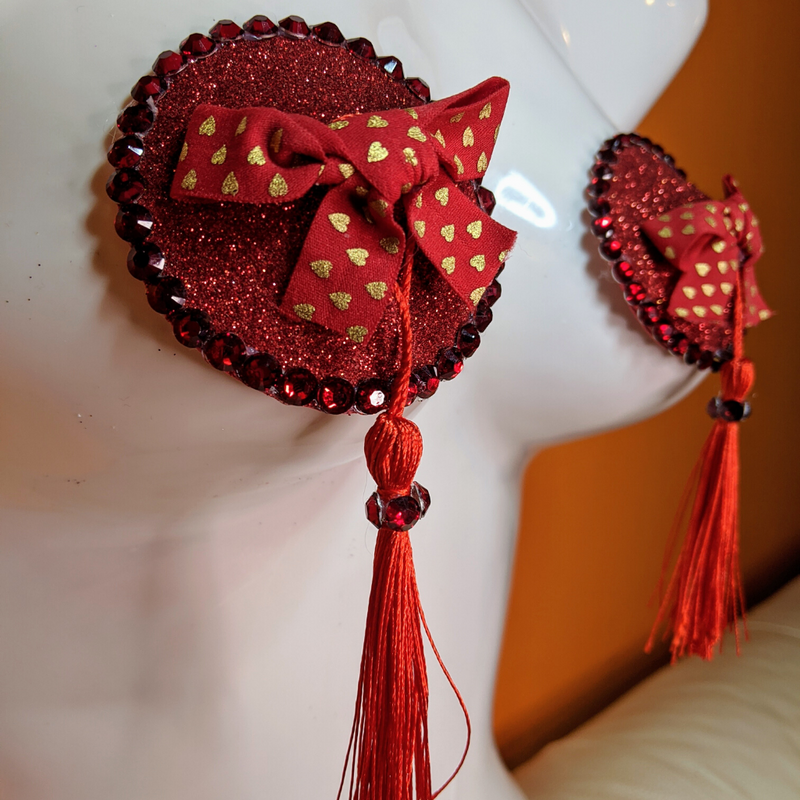 Romantic Red Bow Nipple Pasties with Tassels