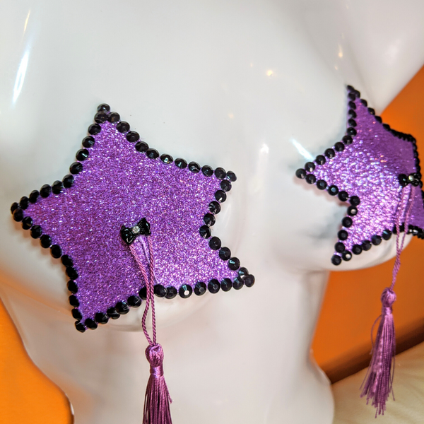 Black and Purple Star Pasties