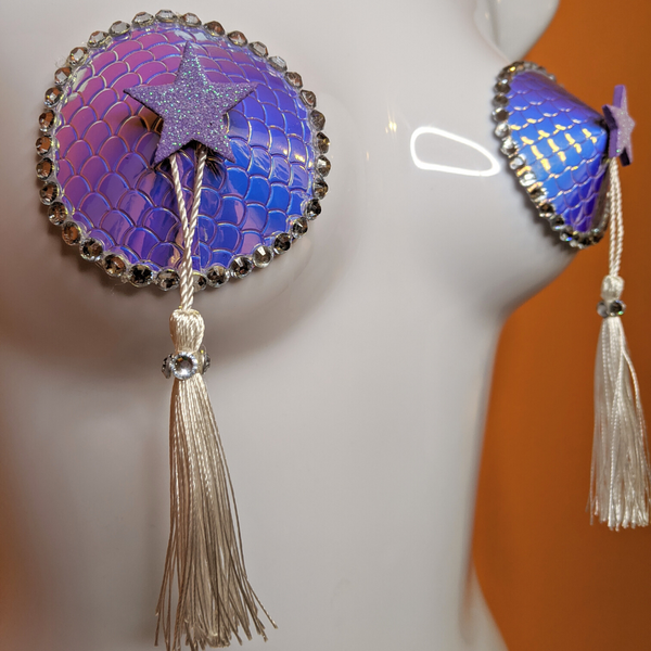 Holographic Blue an Purple Mermaid Star and Scales Pasties with Tassels