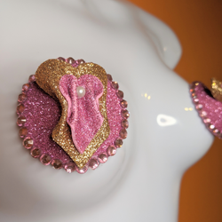 Pink and Gold Vulva Pasties with Pearls