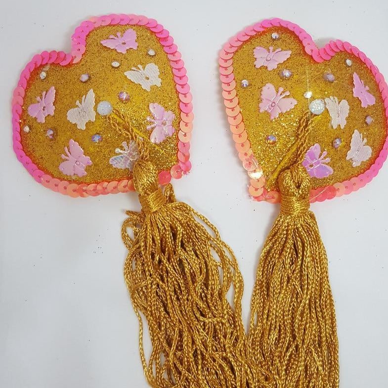Heart and Butterfly Nipple Pasties with Gold Tassels