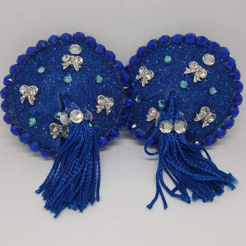 Blue Sparkly Nipple Tassels with Silver Bows and Blue Tassels