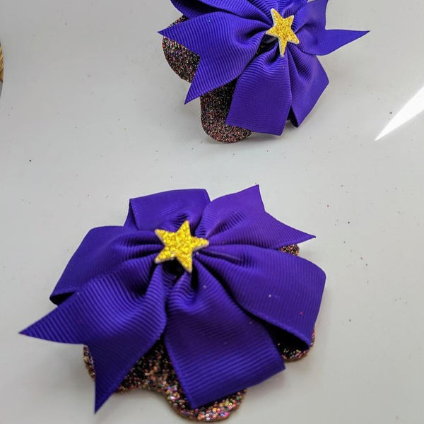 Purple Bow Gold Star Pasties Rhinestone Flowers