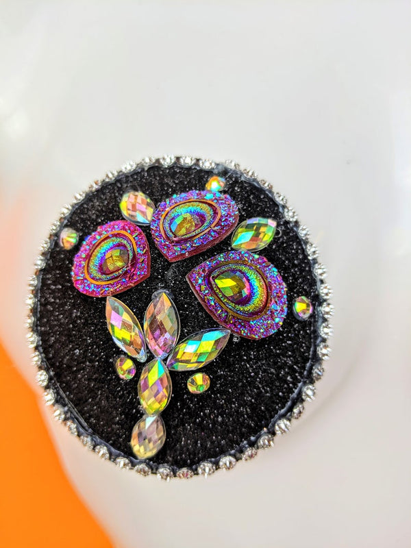 Black Sparkly Rainbow Rhinestone with Crystal Accents