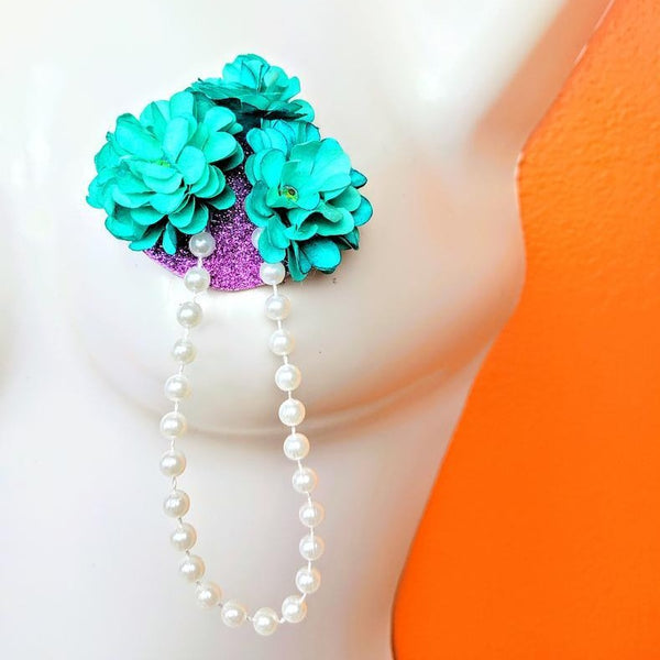 Flowers and Pearls Purple and Teal Nipple Pasties