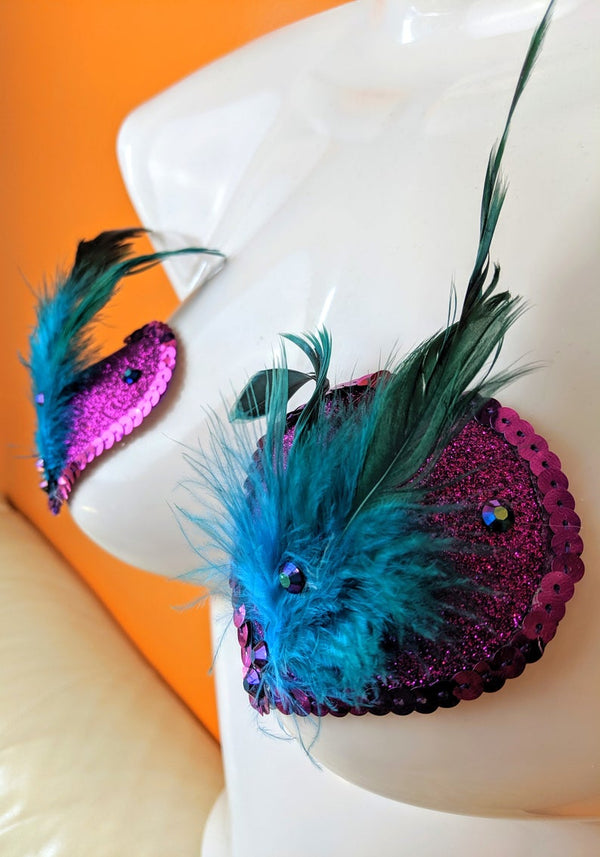Purple Heart Nipple Pasties with Peacock Feathers