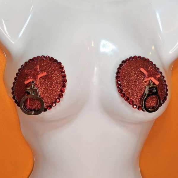 Red Star Handcuff Nipple Pasties