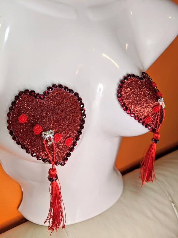 Red Roses and Heart with Bows Nipple Pasties Tassels