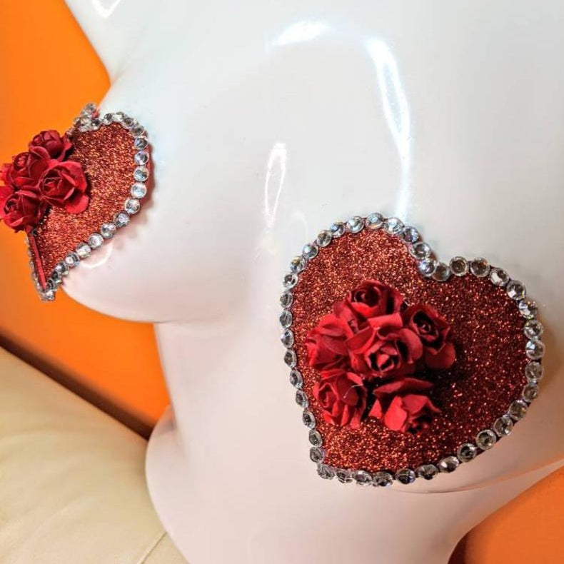 Red Hearts and Roses Nipple Pasties