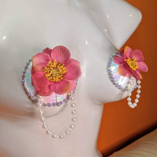 Pink Flower and Pearls Nipple Pasties Tassels