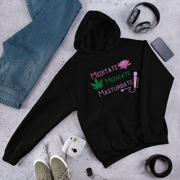 Meditate Medicate Masturbate® Unisex Black or White Fleece Hoodie 3XL-5XL