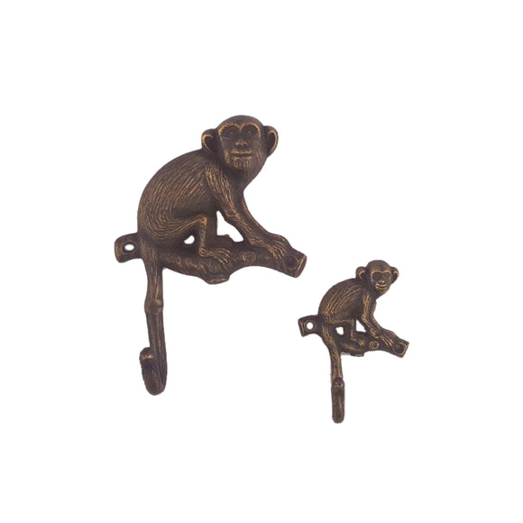 Antique Brass Monkey Wall Hook