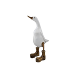 Wooden Ducks with Boots - White