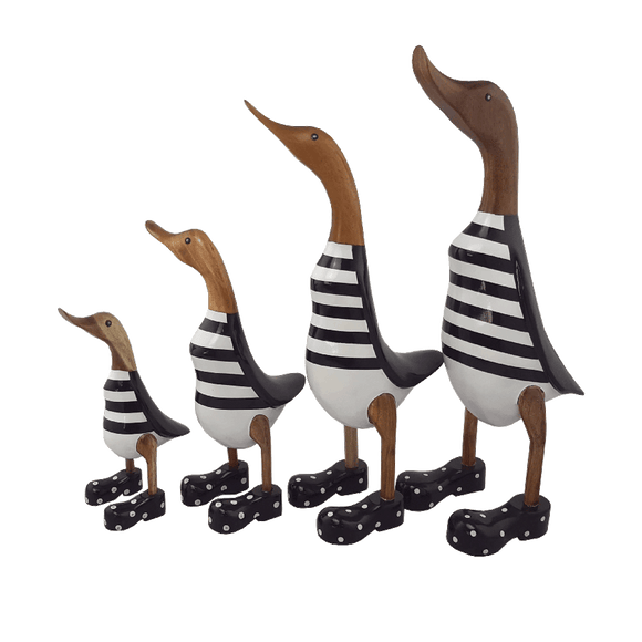 Wooden Ducks with Boots - Stripey Black