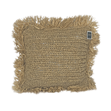 Raffia Square Fringed Cushion - Natural