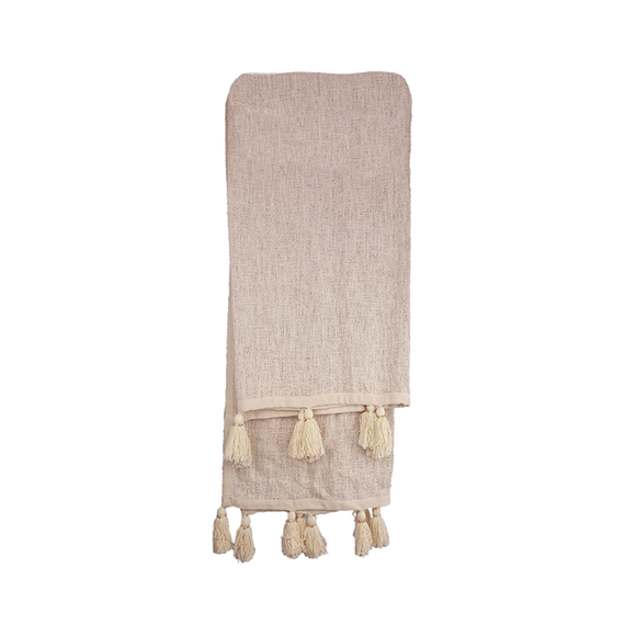 Beaded Tassel Throw - Creme Accent