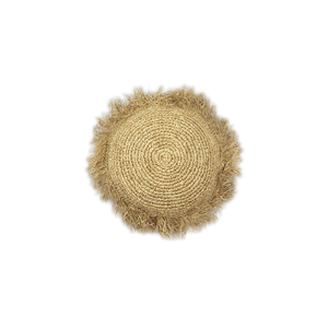 Round Raffia Fringed Cushion - Natural