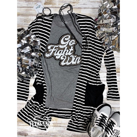 Black and White Striped Cardigan-Four Sisters Boutique